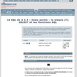 Le SQL de A à Z - SGBD, SQL et types de données
