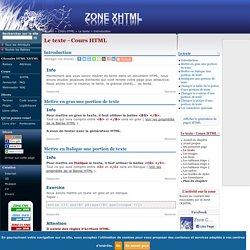 Le texte - Cours HTML