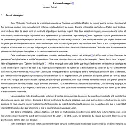 Antonio Quinet - Le trou du regard