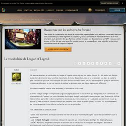 Le vocabulaire de League of Legend