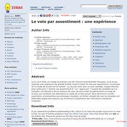 Le vote par assentiment : une expérience