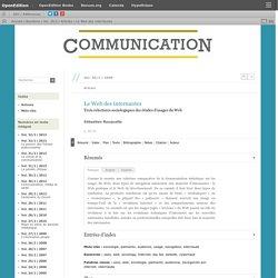 Le Web des internautes. Trois relectures sociologiques des étude