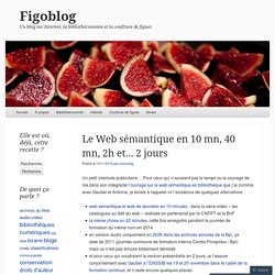 Le Web sémantique en 10 mn, 40 mn, 2h et… 2 jours