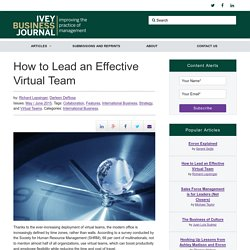 How to Lead an Effective Virtual Team