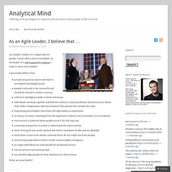 As an Agile Leader, I believe that … | Analytical-Mind