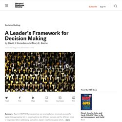 A Leader's Framework for Decision Making