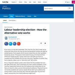 Labour leadership election - How the Alternative vote works