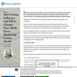 Marketing Leadership Skills to Influence Businesses