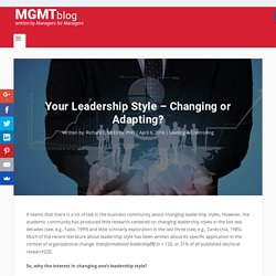 Your Leadership Style – Changing or Adapting?