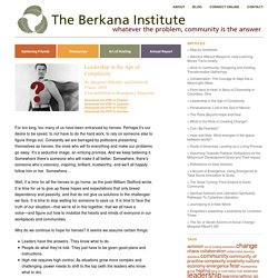 Leadership in the Age of Complexity « The Berkana Institute