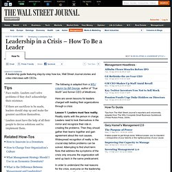 Leadership in a Crisis – How To Be a Leader - Management