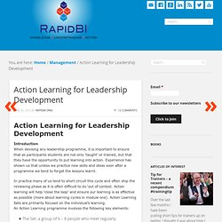Action Learning for Leadership Development