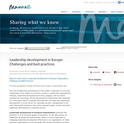 Leadership development in Europe: Challenges and best practices - Mannaz