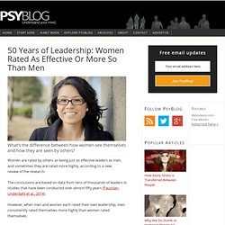 50 Years of Leadership: Women Rated As Effective Or More So Than Men