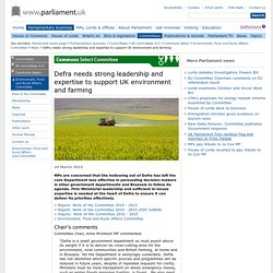 PARLIAMENT_UK 24/03/15 Defra needs strong leadership and expertise to support UK environment and farming