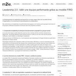 Leadership 2.0 - Bâtir une équipe performante grâce au modèle FIRO - m2ie