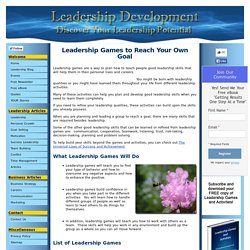 Leadership Games - Learn Good Leadership Skill Development
