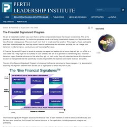 Perth Leadership Institute - Financial Signature Program