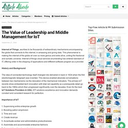 The Value of Leadership and Middle Management for IoT