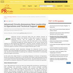 Advanced Circuits Announces New Leadership in Operations and Technical Support