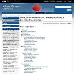 Tools For Leadership And Learning: Building A Learning Organization