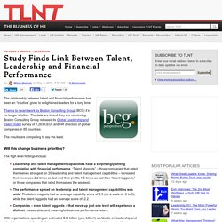 Study Finds Link Between Talent, Leadership and Financial Performance
