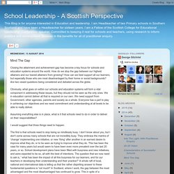 School Leadership - A Scottish Perspective: Mind The Gap