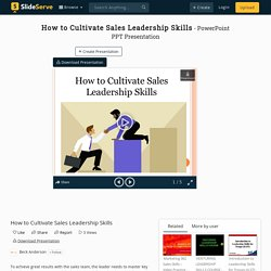 How to Cultivate Sales Leadership Skills