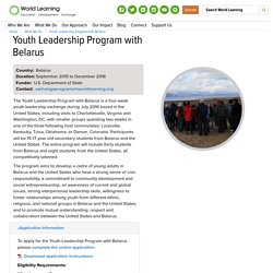 Youth Leadership Program with Belarus - World Learning
