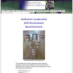 Authentic Leadership Self-Assessment Questionnaire