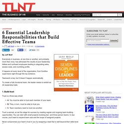 6 Essential Leadership Responsibilities that Build Effective Teams