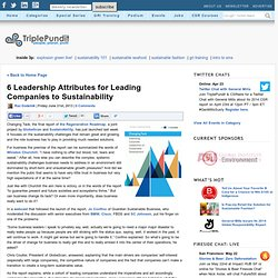6 Leadership Attributes for Leading Companies to Sustainability