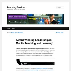 Award Winning Leadership in Mobile Teaching and Learning! | Learning Services