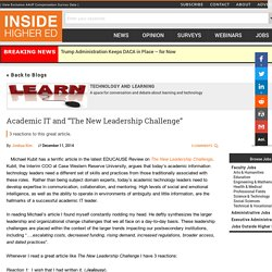 """Academic IT and """"The New Leadership Challenge"""""""