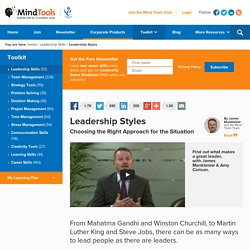Leadership Styles - Leadership Training from MindTools
