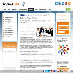 Belbin's Team Roles - Leadership Training from MindTools.com