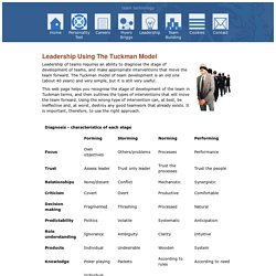 Leadership: using the Tuckman model