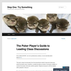 The Poker Player's Guide to Leading Class Discussions