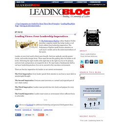 Leading Views: Four Leadership Imperatives