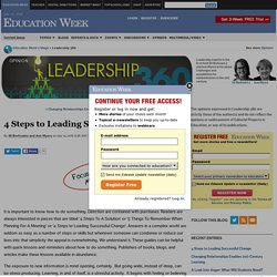 4 Steps to Leading Successful Change - Leadership 360