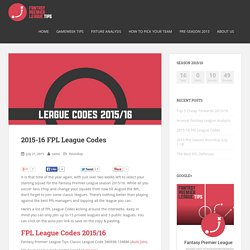2015-16 FPL League Codes