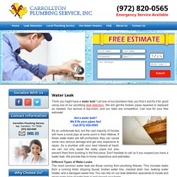Water Leakage Repair and Service Carrollton, Plano, and Frisco