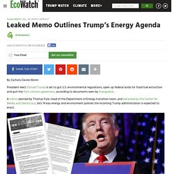 Leaked Memo Outlines Trump's Energy Agenda