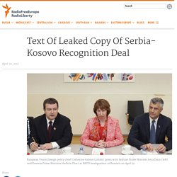 Text Of Leaked Copy Of Serbia-Kosovo Recognition Deal
