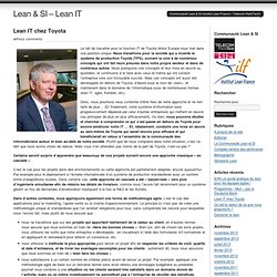 Lean IT chez Toyota at Lean & SI – Lean IT