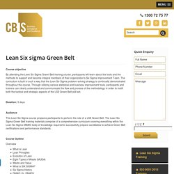 CBIS - Lean Six Sigma Green Belt Training Course