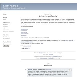 Learn Android : Android Layout Tutorial