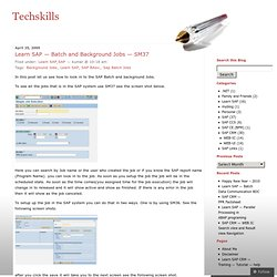 Learn SAP — Batch and Background Jobs — SM37 « Techskills