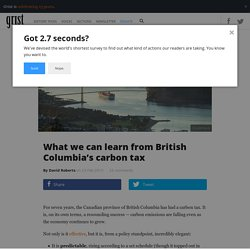 What we can learn from British Columbia's carbon tax