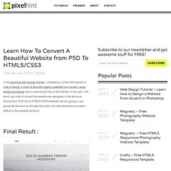 Learn How To Convert A Website from PSD To HTML5/CSS3